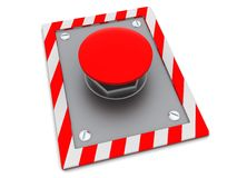 Red button. 3d illustration of red button on steel plate Royalty Free Stock Photo