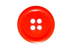 Red button. Close-up photo of red button isolated on white Stock Photo