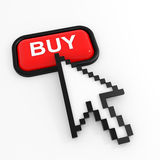 Red button BUY with arrow cursor. Royalty Free Stock Photo
