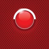 Red button on carbon texture. Red glass button isolated on a carbon background Royalty Free Stock Photography
