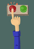 Red button. Cartoon hand push the red button Royalty Free Stock Photography