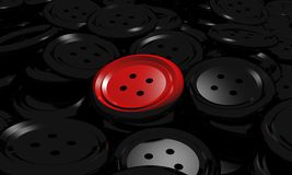 Red button clothes over a lot of blacks Royalty Free Stock Photo