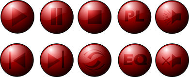 Red button collection. Collection of red buttons for music player royalty free illustration