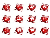 Red button collection - square Royalty Free Stock Photo