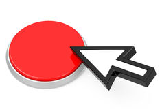 The red button. 3d generated picture of a red button and a mouse cursor vector illustration