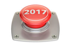 2017 Red Button, 3D rendering. On white background Stock Photo