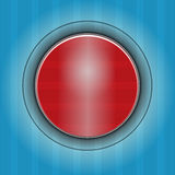 Red button on  dark blue abstract background. Stock Photos