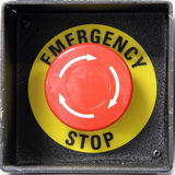 Red button. With emergency stop word Royalty Free Stock Photography
