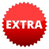 Red button extra. Vector icon stock illustration