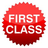 Red button first class. Vector icon Stock Photo