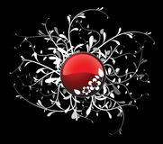 Red button with floral Stock Images