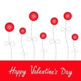 Red button flowers. Dash line stem with bow Love Stock Images