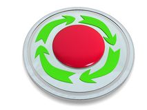 Red button with the green arrows �1 Royalty Free Stock Image