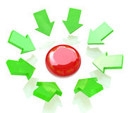 Red button and green arrows. At registration information associated with the launch of a Royalty Free Stock Photo