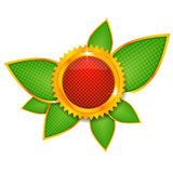 Red button with green leaves Royalty Free Stock Photos