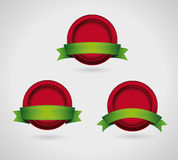 Red button and green ribbon set Royalty Free Stock Photography