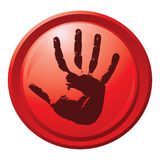 Red button with a hand print. eps10 Stock Photo