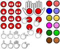 Red button and hand (Vector) Royalty Free Stock Image