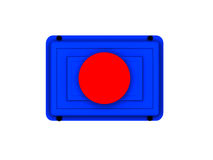 Red button icon. Illustration of circular red button on blue rectangle, isolated on white background Royalty Free Stock Photo