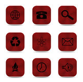 Red button icons isolated Stock Photo
