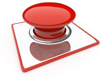 Red Button isolated over white background. Danger Royalty Free Stock Image