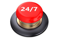 24/7 Red button. Isolated on white background Stock Images