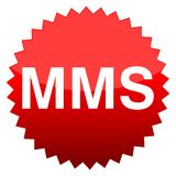 Red button mms. Vector icon Royalty Free Stock Photography