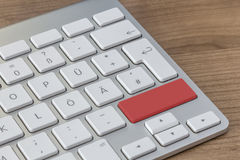 Red Button on modern Keyboard Stock Image