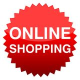 Red button online shopping. Red button online shop,vector icon Royalty Free Stock Photos