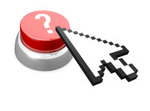 Red button with question mark. And computer mouse cursor icon. It's a 3D rendering Royalty Free Stock Photos