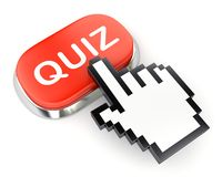Red button QUIZ and hand cursor Royalty Free Stock Photo