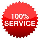 Red button 100% service. Vector icon Stock Illustration
