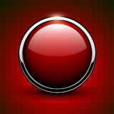 Red button shiny metallic Stock Images