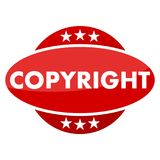 Red button with stars copyright Royalty Free Stock Images