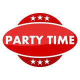 Red button with stars Party time Stock Images