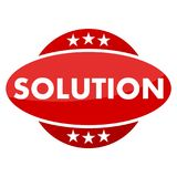 Red button with stars solution Royalty Free Stock Photos