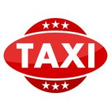 Red button with stars Taxi. Vector icon Stock Photos