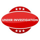 Red button with stars under investigation Stock Photo