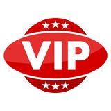 Red button with stars VIP Royalty Free Stock Photos