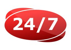 Red button 24/7 support badge Royalty Free Stock Photography