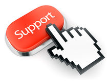 Red button Support and hand cursor. Button with text Support and computer cursor isolated on white background. Online help concept Stock Photo