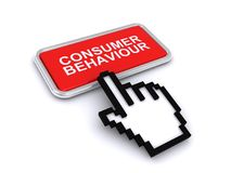 Consumer behaviour button. A red button with the text consumer behaviour and a hand shaped cursor clicking it stock illustration