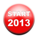 Red button with text Start 2013. On white Stock Image