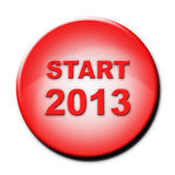 Red button with text Start 2013. On white Stock Photo