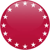 Red Button with White Stars Royalty Free Stock Image