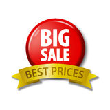 Red button with words `Big Sale - Best Prices` Stock Photos