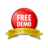 Red button with words `Free Demo - Try It Today`. Bright red round button and gold ribbon with words `Free Demo - Try It Today`. Circle label for software Royalty Free Stock Photography