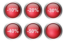 Red buttons. With   chrome frame  over white background Stock Photos