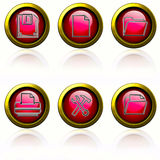 Red buttons. Browser buttons set - red buttons on white background Stock Images
