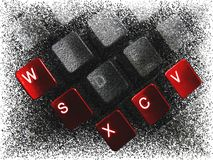 Red buttons 2. Red buttons in macro on the black keyboard made by million small balls. Illustration stock illustration